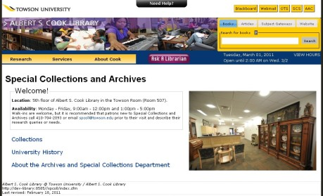 Screenshot of the new home page for Special Collections.